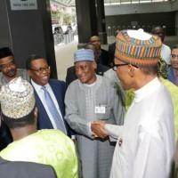 From-Right; President Muhammadu Buhari, Minister of Defence, Brig General Mansur Mohammed Dan-Ali, Director General NIA Mr. Ayo Oke