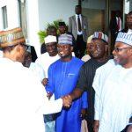 L-R; President Buhari,  General Lawrance Onoja, Kogi State Governor, Alhaji Yahaya Bello, Benue State Governor, Mr Samuel Ortom and Bauchi State Governor, Alhaji Mohammed Abdullahi Abubakar