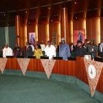 R-L; President Muhammadu Buhari, Vice President Prof Yemi Osinbajo, SGF Engr Babachir David Lawal, Chief of Staff Mallam Abba Kyari, Head of Civil Service, Mrs Winifred Oyo-Ita, NSA, Major General Babagana Mongonu  and Abia State Governor, Chief Okezie Ikpeazu