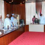 R-L; President Muhammadu Buhari, Acting President ALGON, Alhaji Ibrahim Karaye, Secretary General Alhaji Shittu Bamaiyi Yakmut, Alhaji Idris Gobir, Alhaji Ahmed Wambai, Itiako Ikpokpo