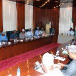 R-L; President Muhammadu Buhari, Acting President ALGON, Alhaji Ibrahim Karaye, Secretary General Alhaji Shittu Bamaiyi Yakmut, Alhaji Idris Gobir, Alhaji Ahmed Wambai and Prince Cornelius Nnaji