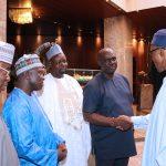 R-L;  President Muhammadu Buhari, Delta State ALGON, Mr Itiako Ikpokpo, Alhaji Mukhtar Ishaq Yakasai, Comrade Steve Jings and Alhaji Ahmed Wambai