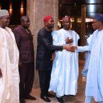 R-L;  President Muhammadu Buhari, Alhaji Garba Mustapha, Prince Cornelius Nnaji, Mojeed Eke Lojumati and Barrister Amodu Okandeji