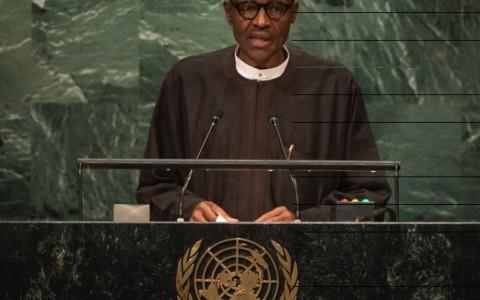 President Muhammadu Buhari speaking at the 71st United Nation General Assembly