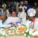 President Muhammadu Buhari, his wife, Mrs Aisha Buhari Chats with the Oba of Lagos, HRM Rilwan Akiolu