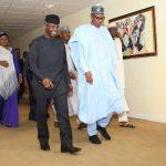 On Arrival: President Muhammadu Buhari, HIS WIFE Mrs Aisha Buhari accompanied by the Vice President Prof Yemi Osinbajo