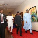 On Arrival: President Muhammadu Buhari accompanied by the Vice President Prof Yemi Osinbajo