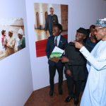On PHOTO EXHIBITION TOUR:  President Muhammadu Buhari accompanied by his wife Aisha Buhari, the Vice President Prof Yemi Osinbajo and his wife on Photo exhibition tour