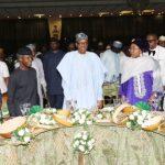 President Muhammadu Buhari with his wife Mrs Aisha Buhari flanked by the Oba of Lagos, HRM Rilwan Akiolu, Vice President Yemi Osinbajo, his wife Dolapo and Minister of Information, Alhaji Lai Mohammed