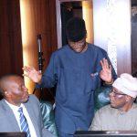 L-R; Minister of Niger Delta, Mr. Usani Uguru Usani, Minister of State Education, Prof Anthony Onwuka and Minister of State Niger Delta, Elder Cladius Omoleye Daramola