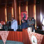 R-L; President Muhammadu Buhari, Vice President Prof Yemi Osinbajo, SGF Engr Babachir David Lawal, Head of civil Service, Mrs Winifred Oyo-Ita and NSA, Major General Babagana Mongonu