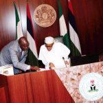 L-R; SGF Engr Babachir David Lawal confers with the President Muhammadu Buhari
