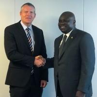 Lagos State Governor, Mr. Akinwunmi Ambode (right), with CEO designate of APM Terminals in Copenhagen, Denmark, Mr. Morten Engelstoft