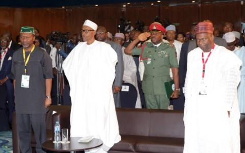 President Muhammadu Buhari (M) FLANKED BY Minister of Budget and National Planning, Senator Udoma Udo Udoma and by NESG Chairman Alhaji Kyari Bukar