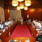 President Muhammadu Buhari (M) presides over Progressive Governors Forum