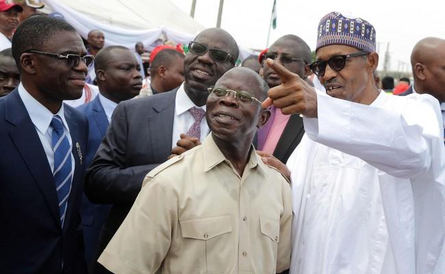 President Buhari with L-R: Edo State Deputy Governor Elect Hon. Philip Shuaibu, Edo State Governor Elect Godwin Obaseki and Governor of Edo State Adams Oshiomole shortly after commissioning Upper Siluko Road