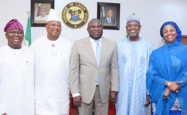 L-R: Lagos State Governor, Mr. Akinwunmi Ambode (middle); Senator Olamilekan Adeola Solomon, Senator Isiaka Adeleke; Chairman, Senate Committee on Marine Transport, Senator Sani Yerima and Senator Binta Garba