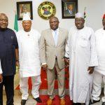 L-R: Lagos State Governor, Mr. Akinwunmi Ambode (middle); Senator Ahmed Ogembe; Senator Ben Uwajumogu; Senator Isiaka Adeleke; Senator Abdullahi Gumal; Senator Obinna Ogbu and Senator Sam Anyanwu