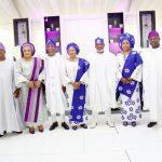R-L: Wife of Lagos State Governor, Mrs. Bolanle Ambode; her husband, Mr. Akinwunmi Ambode; Mother & Father of the Bride, Alhaja & Alhaji Shakiru Gbadamosi; Wife of Osun State Governor, Alhaja Sherifat Aregbesola; her husband, Ogbeni Rauf Aregbesola; Wife of Oyo State Governor, Mrs. Florence Ajimobi; her husband, Senator Abiola Ajimobi and Deputy Governor of Osun State, Chief (Mrs.) Titi Laoye-Tomori