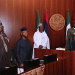 R-L; President Muhammadu Buhari, Vice President, Yemi Osinbajo and SGF Engr Babachir David Lawal
