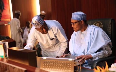 President Muhammadu Buhari confers with the SGF, Engr Babachir DAvid Lawal