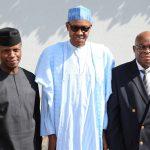 President Muhammadu Buhari (M) flanked Vice President Prof Yemi Osinbajo and New Acting Chief Justice of Nigeria, Hon Justice Walter Samuel Nkanu Onnoghen