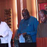 R-L; Vice President Prof Yemi Osinbajo, SGF Engr Babachir David Lawal and Chief of Staff, Mallam Abba Kyari
