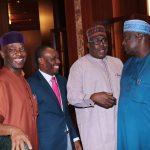 R-L; SGF, Engr Babachir David Lawal, Minister of State Power, Alhaji  Mustapha Baba Shehuri, Minister of Niger Delta, Mr Usani Uguru Usani and Minister of State, Education, Prof Anthony Onwuka