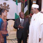R-L; President Muhammadu Buhari receives President Elect of the Republic of Ghana, Mr. Nana Akufo-Addo accompanied by Executive Secretary Saretn Atta