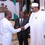 R-L; President Muhammadu Buhari receives President Elect of the Republic of Ghana, Mr. Nana Akufo-Addo accompanied by Mr Ken Afori Atta