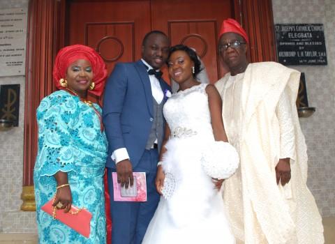 From Left: Mrs. Margaret 'Toyin Owolabi -Bride's Mother,  Mr. Ayodele Adedeji - Groom, Mrs Elizabeth Adedeji - Bride and Mr. Anthony Owolabi - Bride's Father.