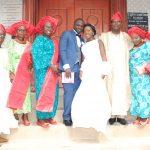 From Left: Mr. Anthony Owolabi - Bride's Father,  Mrs. Ronke Akinloye, Mrs. Taibat Adedeji - Groom's Mother, Mr. Ayodele Adedeji - the Groom, Mrs. Elizabeth Adedeji -the Bride, Mr. George Akinloye and Mrs. Margaret 'Toyin Owolabi - the Bride's Mother.