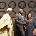 Lagos State Governor, Mr. Akinwunmi Ambode (middle); Chief Judge of Lagos State, Justice Olufunmilayo Atilade (left) and Oba of Lagos, Oba Rilwan Akiolu I