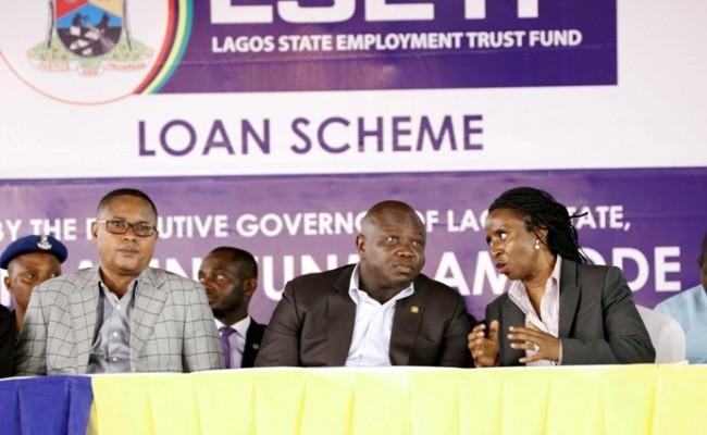 Lagos State Governor, Mr. Akinwunmi Ambode (middle); Chairman, Mrs. Ifueko Omoigui-Okauru (right) and Deputy Speaker, Lagos State House of Assembly, Hon. Wasiu Eshinlokun Sanni (left)