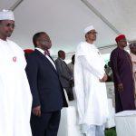 L-R; FCT Minister Alhaji Muhammad Musa Bello, Minister of Health, Prof Isaac Adewole, President Muhammadu Buhari, Representatives of the Senate President, Senator Mao Ohuabunwa, Senator Tejuso