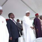 L-R; FCT Minister Alhaji Muhammad Musa Bello, Minister of Health, Prof Isaace Adewole, President Muhammadu Buhari, Representatives of the Senate President, Senator Mao Ohuabunwa, Senator Tejuso