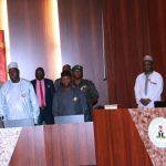 R-L; President Muhammadu Buhari, Vice President Yemi Osinbajo, SGF, Engr Babachir David Lawal, Chief of Staff, Mallam Abba Kyari