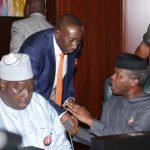 R-L; Vice President, Yemi Osinbajo, NSA, Major General Babagana Mongonu and SGF, Engr Babachir Lawal