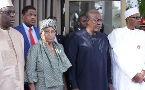 R-L; President Muhammadu Buhari, the Former President of Ghana H.E John Mahamal, Chairperson and President of Liberia, H.E Ellen Johnson and President of Senegal H.E Macky Sall
