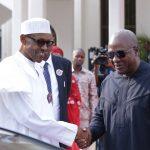 L-R; President Muhammadu Buhari bids farwell to the Former President of Ghana H.E John Mahamal