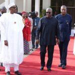 L-R; President Muhammadu Buhari, Former President of Ghana H.E John Mahama, Nigerian minister of Foreign Affairs, Mr Geoffrey Onyeama, President of Senegal H.E Macky Sall and Chief of Staff, Mallam Abba Kyari