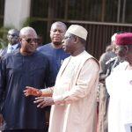 L-R; Former President of Ghana H.E John Mahama, Nigerian minister of Foreign Affairs, Mr Geoffrey Onyeama, President of Senegal H.E Macky Sall and Chief of Staff, Mallam Abba Kyari