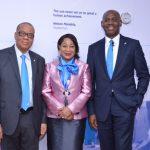 (L-R) Chairman, Union Bank, Cyril Odu, Non-Executive Director, Union Bank, Nike Akande and CEO, Emeka Emuwa