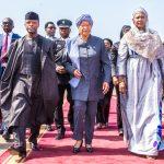 Ag President Osinbajo welcomed by Vice President Fatoumata Tambajang