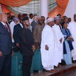 L-R; Acting President Yemi Osinbajo, Former President Olusegun Obasanjo, Wife of Late Head of Head Murtala Muhammed, Mrs Ajoke and others