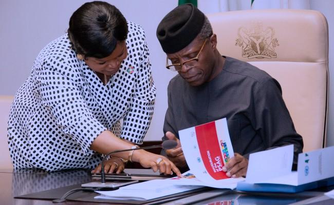 R-L; Ag President Yemi Osinbajo and SSAP on SDGs, Princess Adejoke Orelope-Adefulire