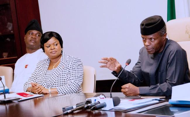 R-L; Ag President Yemi Osinbajo, SSAP on SDGs, Princess Adejoke Orelope-Adefulire and chairman Senate Commitee on SDGs, Senator Atai Idoko