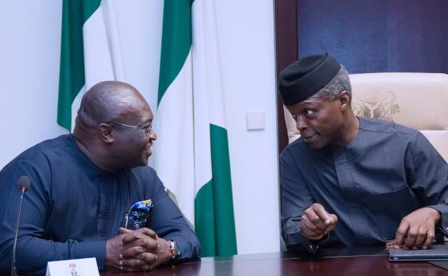 Ag President Yemi Osinbajo chats with Abia State Governor, OKEZIE Ikpeazu