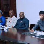 R-L; Ag President Yemi Osinbajo, Abia State Governor, OKEZIE Ikpeazu and others delegation