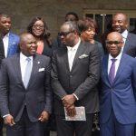 Lagos State Governor, Mr. Akinwunmi Ambode (2nd left), Deputy Governor, Dr. (Mrs) Oluranti Adebule; Chairman, Egbin Power Plc., Mr. Kola Adesina; Chairman, Eko Distribution Company, Mr. Charles Momoh; Dircetor, Eko Disco, Mr. Ernest Oji and other members of the Power Technical Committee